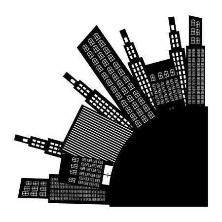 city round with builds icon, vector illustraction design image
