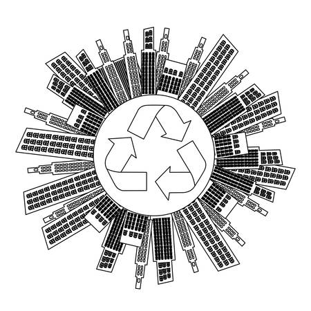 forestation: figure city with build and help environment icon, vector illustraction
