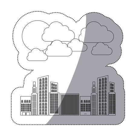 silhouette builds with cloud and sun icon, vector illustraction design