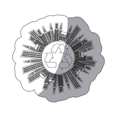 silhouette city with build and help environment icon, vector illustration