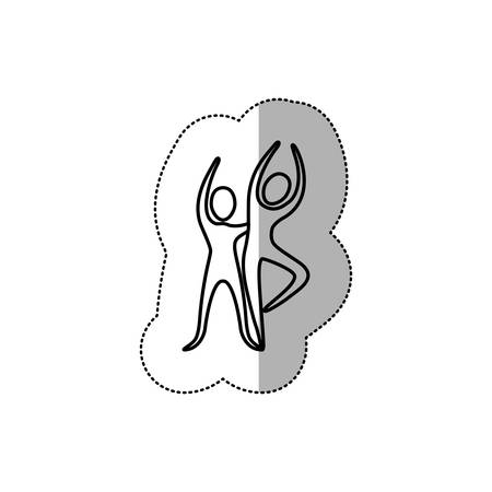 sticker people couple dancing icon, vector illustraction design Illustration