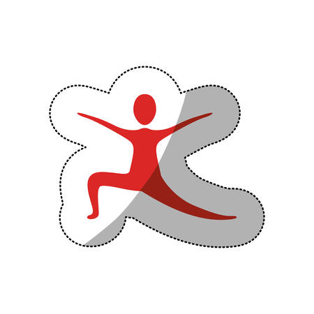 red person practicing dancing icon, vector illustraction design image