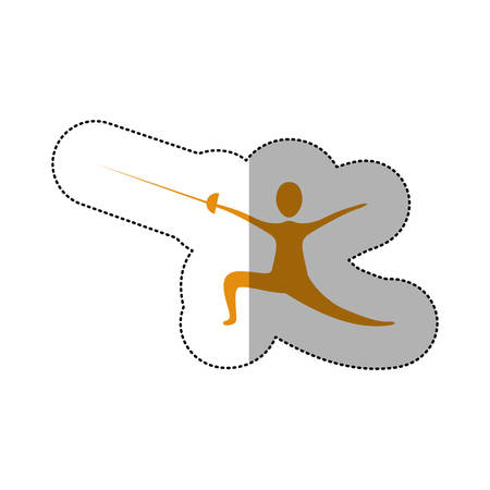 yellow person practicing fencing icon, vector illustraction design image Illustration