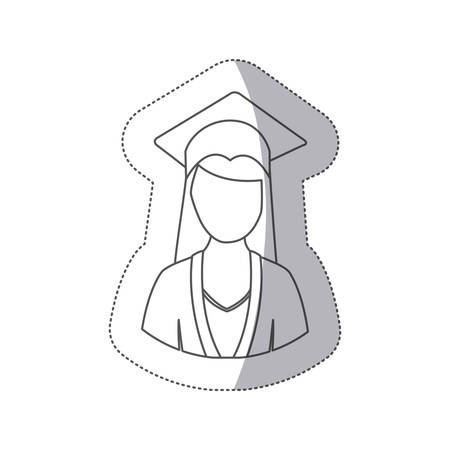 sticker silhouette half body woman with graduation outfit vector illustration Illustration