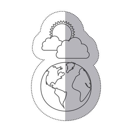 sticker silhouette earth world cloud with rain and sun vector illustration