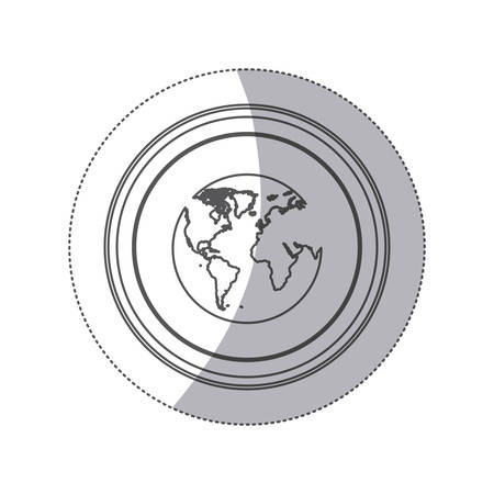atlantic city: sticker monochrome silhouette circular button with earth world map vector illustration