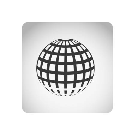 monochrome square frame with silhouette sphere grid world vector illustration