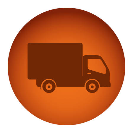 camion de basura: orange color circular frame with silhouette transport truck vector illustration