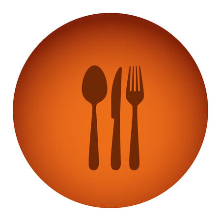 flatwares: orange color circular frame with silhouette cutlery vector illustration Illustration