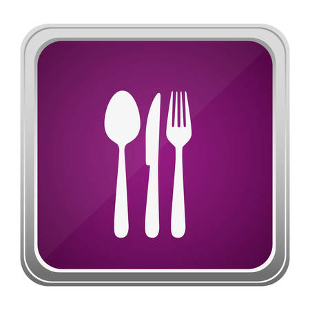 violet square button relief with silhouette cutlery vector illustration Illustration