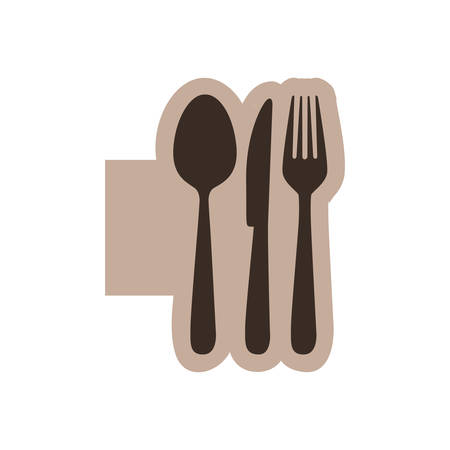 color emblem with silhouette cutlery vector illustration