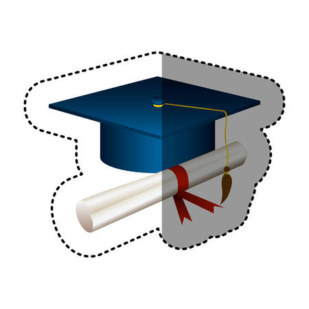 sticker silhouette graduation cap with certificate vector illustration Illustration