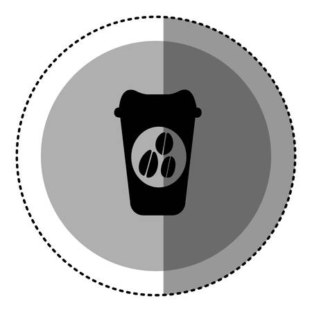 decaf: sticker monochrome circular emblem with disposable coffee cup vector illustration