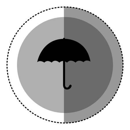 sticker monochrome circular emblem with umbrella icon vector illustration