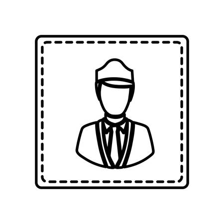 cabin attendant: monochrome contour square and dotted line with flight attendant vector illustration Illustration