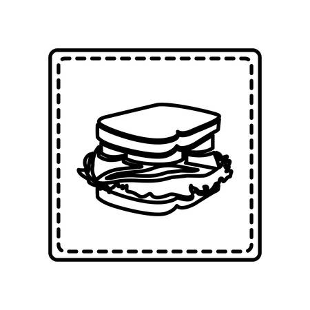 deli meat: monochrome contour square and dotted line with sandwich icon vector illustration