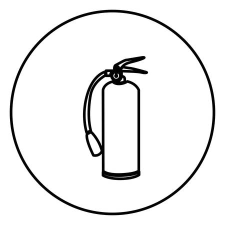 monochrome contour circular frame with extinguisher vector illustration