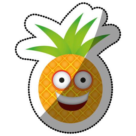 color kawaii fruit pineapple happy icon, vector illustration design