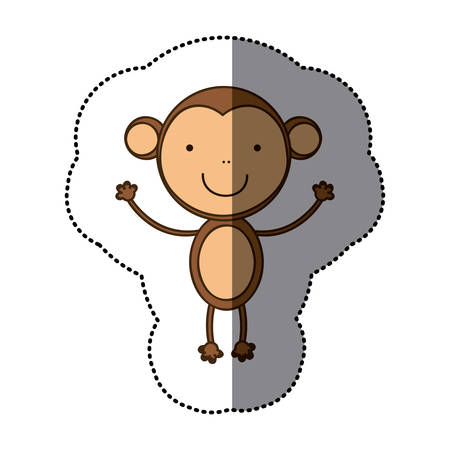 sticker colorful cute monkey animal vector illustration Illustration