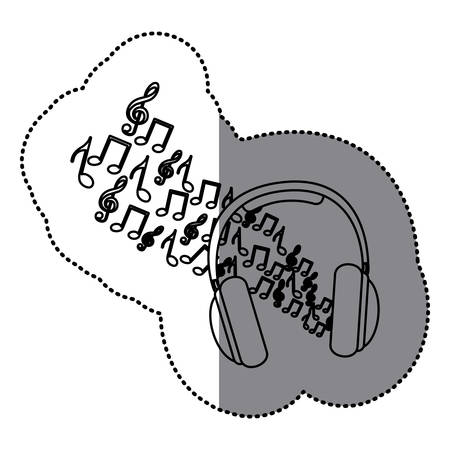 sticker silhouette headphones with musical notes icon vector illustration
