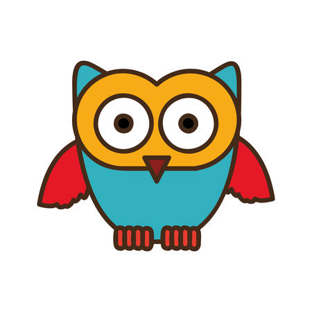 color stylized owl icon, vector illustraction design image