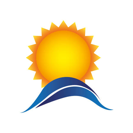 color sun with blue mountain icon, vector illustraction design