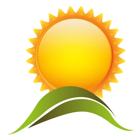 color sun with mountain icon, vector illustraction design Illustration