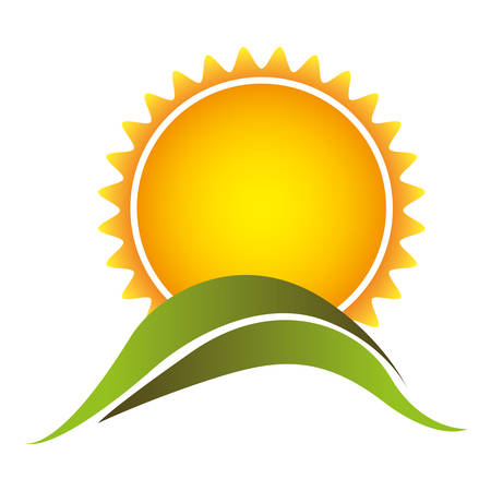 color abstract sun with mountain icon, vector illustraction design