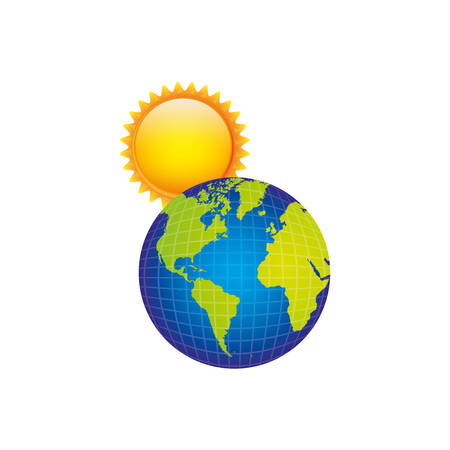 earth planet with sun icon, vector illustraction design