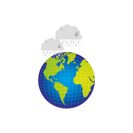 overcast: earth planet with clouds rainning icon, vector illustraction Illustration