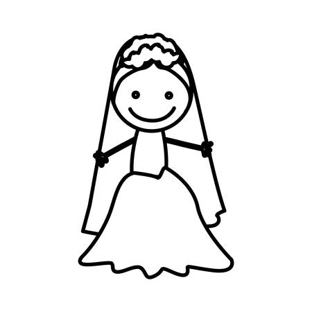 figure bride with her dress icon, vector illustraction design