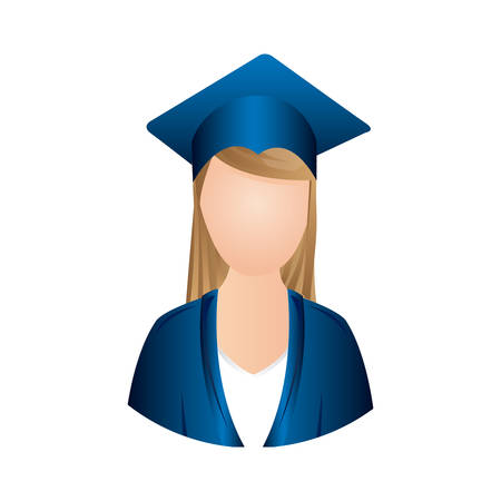 Woman graduation icon, vector illustration design image Illustration
