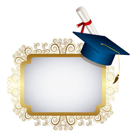 gold metal emblem with graduation hat and diploma, vector illustraction