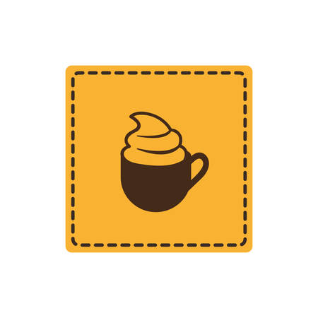 yellow emblem cup coffee with cream icon, vector illustraction design