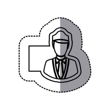 Figure emblem of guard person icon in a illustration design image. Illustration