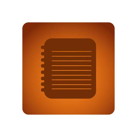 notebook paper: Orange emblem notebook paper icon, vector illustration design Illustration