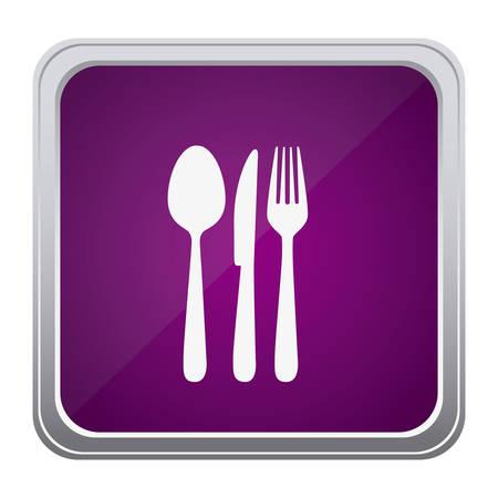purple emblem metal cutlery icon, vector illustraction design image Illustration