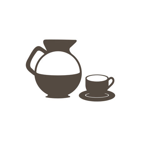 silhouette set glass jar of coffee with dish and cup icon vector illustration Illustration