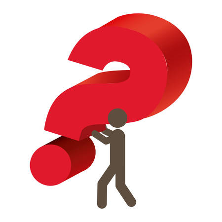 Silhouette person carrying question mark vector illustration