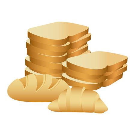 realistic picture stack slices bread and croissant vector illustration