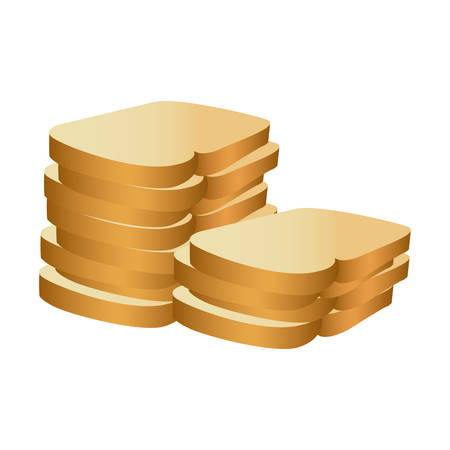 realistic picture stack slices bread bakery food vector illustration
