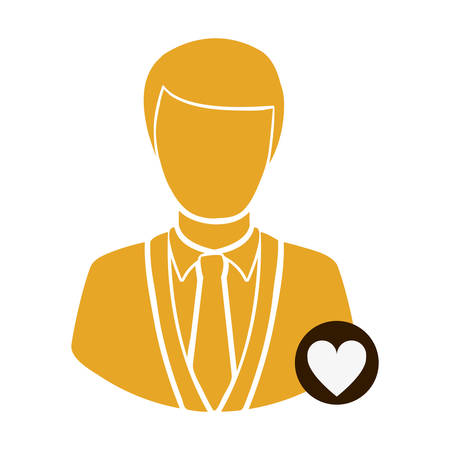 color half body silhouette man with button heart sign vector illustration