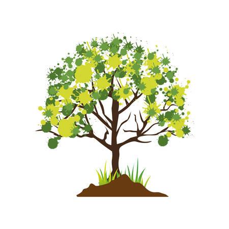 arboles frondosos: Colorful leafy tree vector illustration on white background