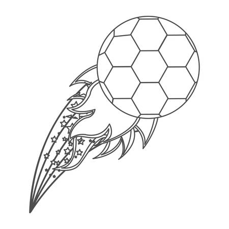 Grayscale contour with flame behind soccer ball
