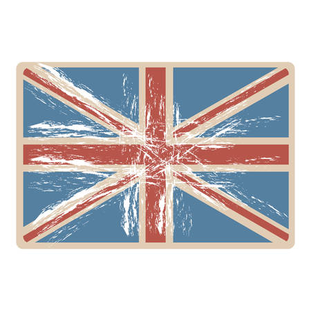 english culture: flag united kingdom with opaque grunge texture vector illustration