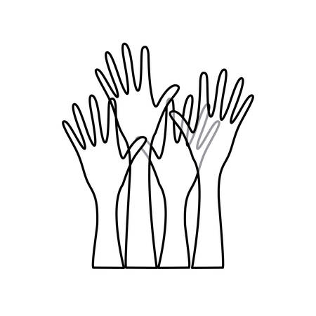 raise hand: sketch silhouette set hands raised icon vector illustration