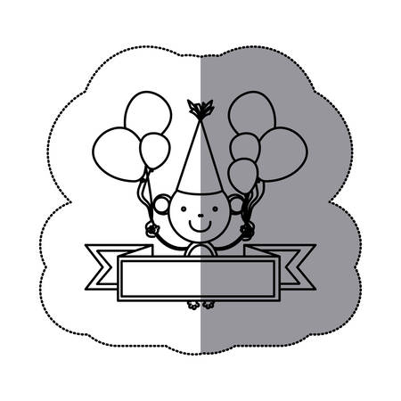 Silhouette cute monkey animal with balloons and decorative ribbon vector illustration