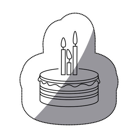 sugar veil: Sticker silhouette birthday cake with candles vector illustration Illustration
