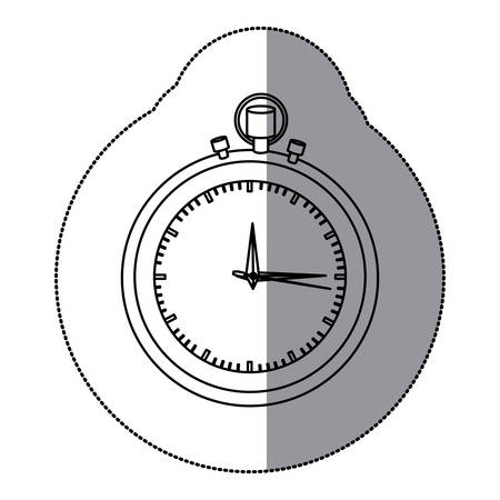 sticker silhouette stopwatch graphic icon flat vector illustration