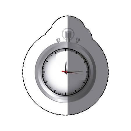 sticker realistc silver stopwatch graphic vector illustration